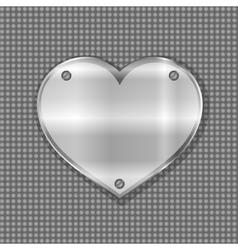 metal heart label on steel background vector image vector image