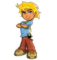Blonde Boy With Headphones vector image vector image