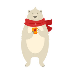 christmas polar bear with cup vector image