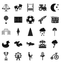 court icons set simple style vector image vector image