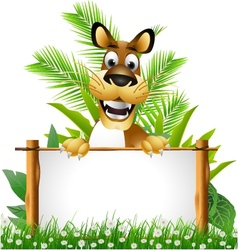 cute dog with blank sign vector image