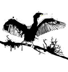 Grunge Black Hop off Cormorant vector image vector image