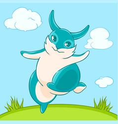 joyful fun blue bunny jumps across the lawn vector image vector image