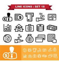 Line icons set 18 vector image vector image