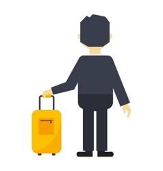 Man with travel bag vector image