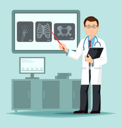 medic or doctor pointing at x-ray before surgery vector image vector image