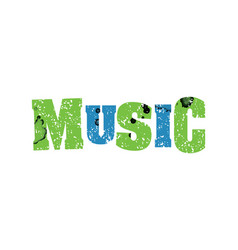 music concept colorful stamped word vector image