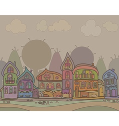 Town houses in a retro style background vector image