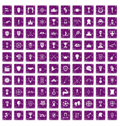 100 trophy and awards icons set grunge purple vector
