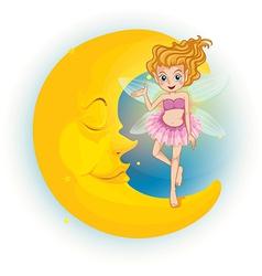 A fairy standing on a sleeping half moon vector image