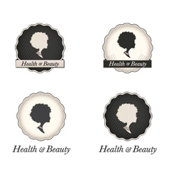 African American woman logo in frame with text vector