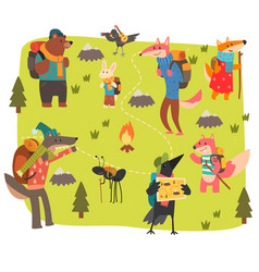 animals travelling and camping set cute animals vector image