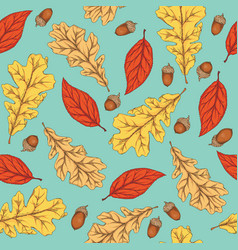 autumn seamless pattern with leaves and acorns vector image