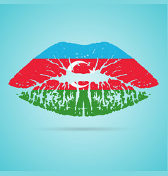 azerbaijan flag lipstick on the lips isolated on a vector image