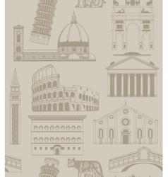 Background with famous Italian landmarks vector