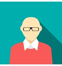 Bald man in a red sweater icon flat style vector image
