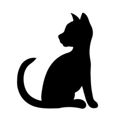 Black silhouette of a sitting cat vector