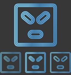 Blue line anger logo design set vector