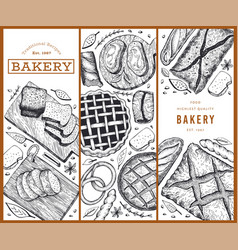 bread and pastry banners set bakery hand drawn vector image