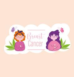 breast cancer cartoon women butterflies and words vector image