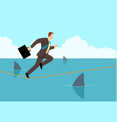 Businessman running on rope with sharks underneath vector