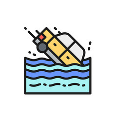 Car sinks in water flat color line icon vector