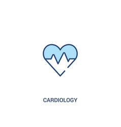 Cardiology concept 2 colored icon simple line vector