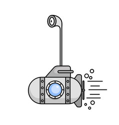 cartoon submarine with the periscope and the vector image