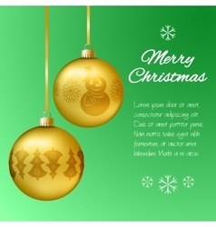 Christmas card with gold pendants in the shape of vector