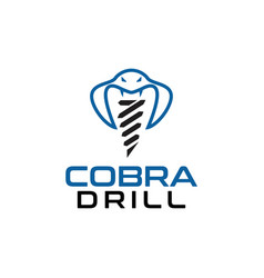 cobra and drill logo design template vector image