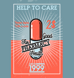 color vintage pharmacy banner vector image