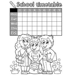 Coloring book school timetable 4 vector