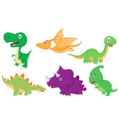 Cute dinosaur cartoon collection set vector