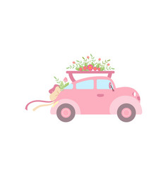 Cute pink vintage car decorated with flowers vector
