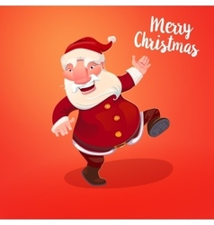 Cute Santa on holidays red backdrop vector