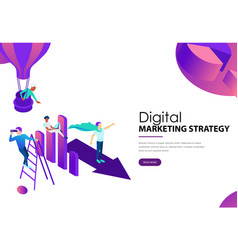 Digital marketing strategy it team with diagram vector
