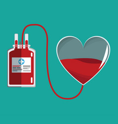 Donate blood glass heart and iv bag vector