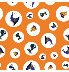 dots halloween cats and pumpkins repeat pattern vector image