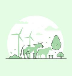 eco farming - thin line design style vector image