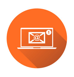Email envelope message on laptop in flat style on vector