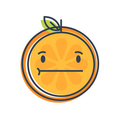 Emoji - no words straight orange smile isolated vector