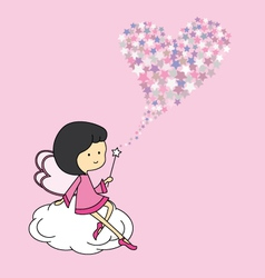 Fairy sitting on a cloud vector