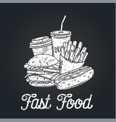 Fast food icon retro style vector