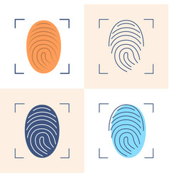 fingerprint scan icon set in flat and line style vector image