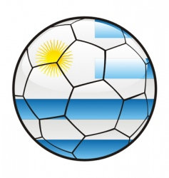Flag of Uruguay on soccer ball vector