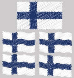 Flat and Waving Hand Draw Sketch Flag of Finland vector