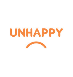 flat design style concept of unhappy text with vector image
