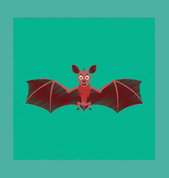 Flat shading style icon cute bat vector