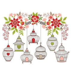 Flowers With Bird Cages vector image vector image