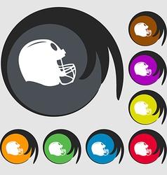Football helmet icon Symbols on eight colored vector